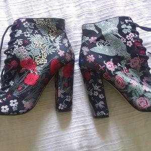 Steve Madden brocade heeled booties